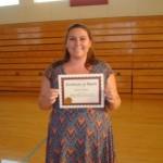 Cassidy Carter - Calaveras High School C&TT Winner. Will study nursing. Award presented by CCF BOD member, Liz Gimble.