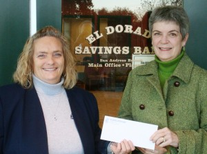 Left to right: Kathy Dougherty, Vice President and Branch Manager El Dorado Savings Bank; Linda Kangeter, President of the Calaveras Community Foundation.