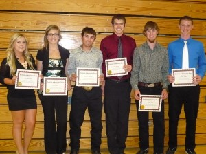 L-R: Calaveras High School winners: Carleigh Bates, Sierra Wade, Raymond Schulze, Clay Norman, Benton Frye, Jordon Fisher. Not shown: Bret HS winner, Kayla Sadler and Home Schooler, Kyle Caires