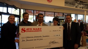 Nicole Piccinini, Save Mart Vice President of Strategy; Brent Harrington, CCF Board Treasurer; Gil Valtierra, CCF Board member; Barbara White, CCF Board member; Steve Junquiero, Save Mart Chief Operating Officer