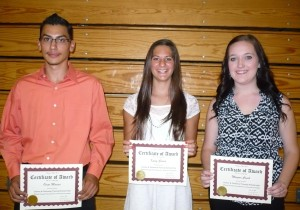 Calaveras High School Career & Technical Training Awardees: Omar Macias, Kaley Garcia and Morgan Couch